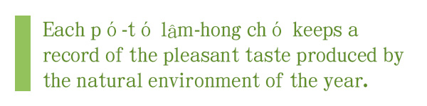Each pó-tó lâm-hong chó keeps a record of the pleasant taste produced by the natural environment of the year